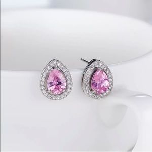 3 For $18 White Gold Pink Crystal Earrings